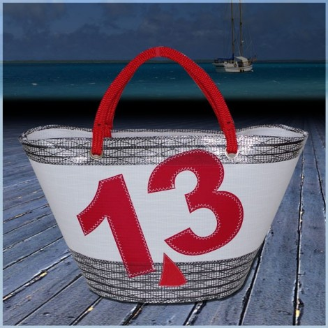 Panier en voile de bateau Blanc Carbone N°13 rouge