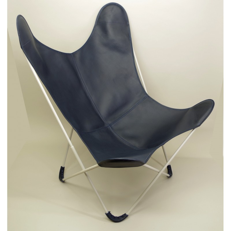 fauteuil aa butterfly assise cuir v g tal bleu marine. Black Bedroom Furniture Sets. Home Design Ideas