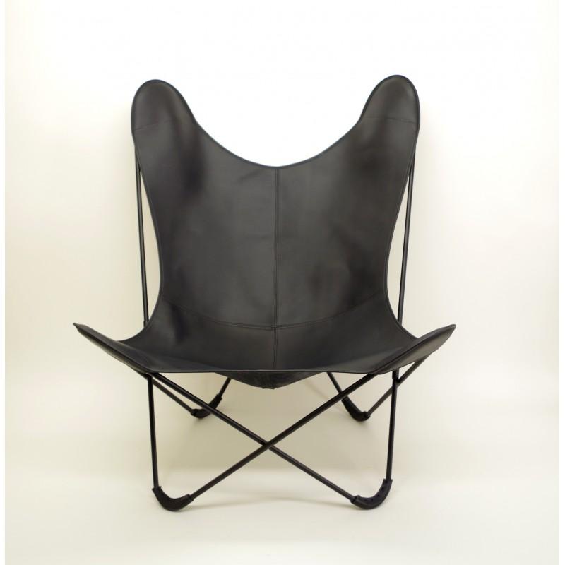 fauteuil aa butterfly cuir v g tal noir. Black Bedroom Furniture Sets. Home Design Ideas
