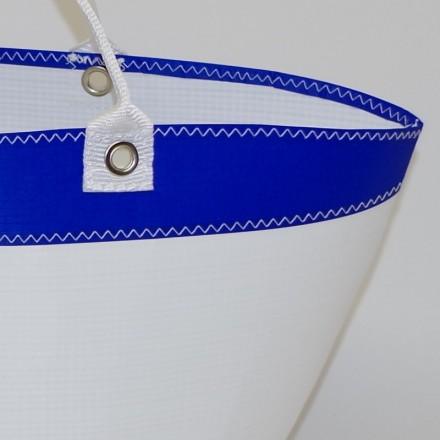 Panier en voile de bateau Blanc Bleu