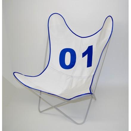 Fauteuil AA assise Voile de bateau 01 Bleu