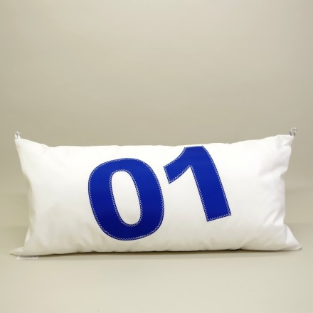 Coussin en voile de bateau 45 cm X 90 cm N°01 bleu