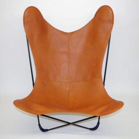 Fauteuil AA butterfly assise cuir couleur Pain Brulé