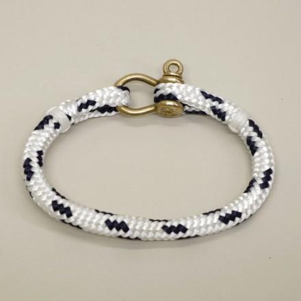 Bracelet Hoël Blanc Marine manille laiton