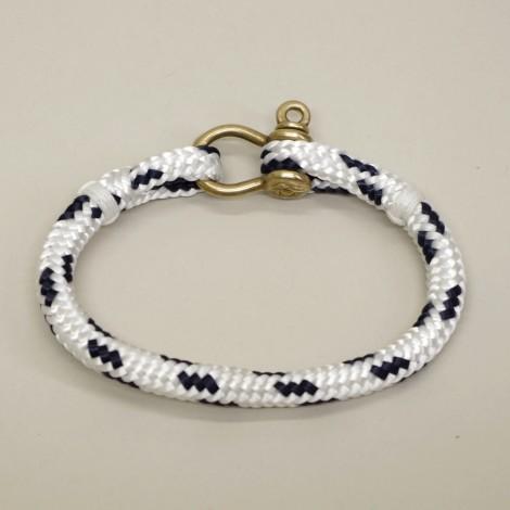 Bracelet en cordage marin Hoël Blanc Marine manille laiton