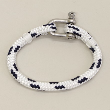 Bracelet Hoël Blanc Marine manille inox