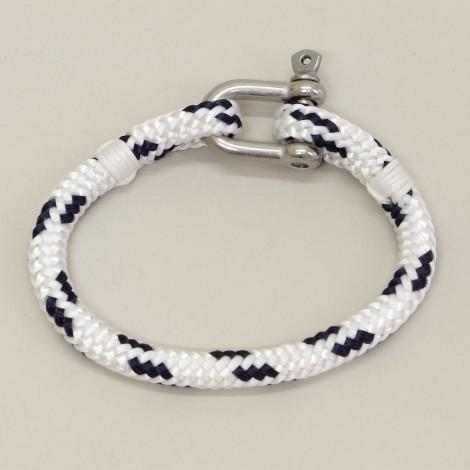 Bracelet en cordage marin Hoël Blanc Marine manille inox
