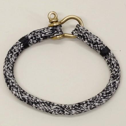 Bracelet Hoël Gris Noir manille laiton