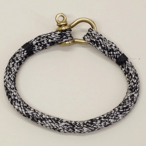 Bracelet Hoël en cordage marin Gris Noir manille laiton