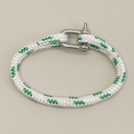 Bracelet en cordage marin Hoël Blanc Vert manille inox