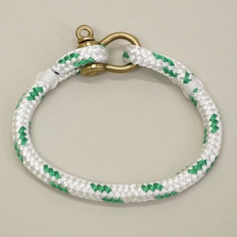 Bracelet en cordage marin Hoël Blanc Vert manille Laiton