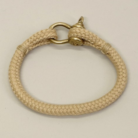 Bracelet en cordage marin Hoël Sable manille Laiton