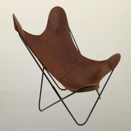 Fauteuil AA assise cuir couleur Pain Brulé
