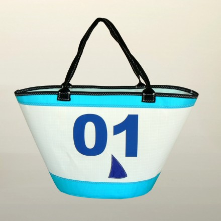 BAG WHITE TURQUOISE BLUE NUMBER 01