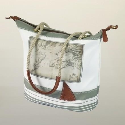 Sac à main en voile de bateau imprimée carte ancienne