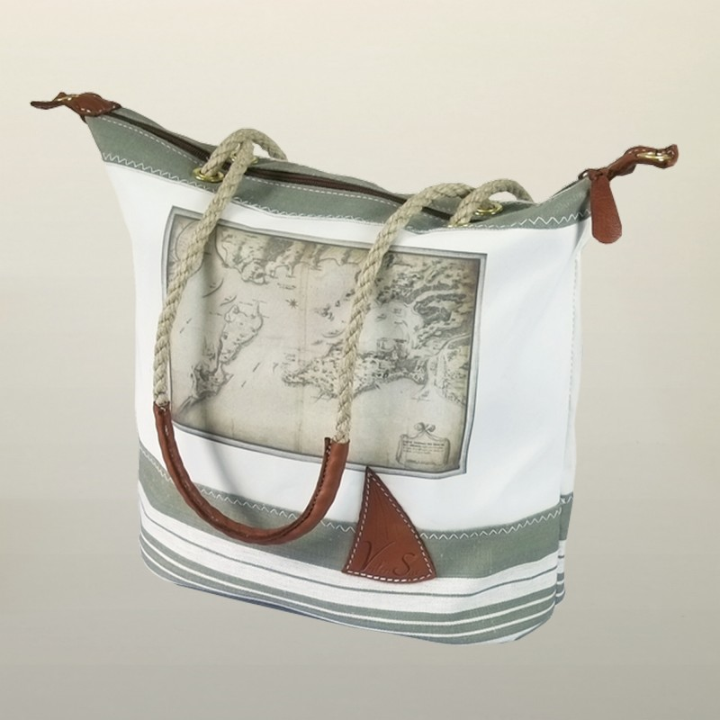 sac main en ancienne voile de bateau imprim e carte ancienne. Black Bedroom Furniture Sets. Home Design Ideas