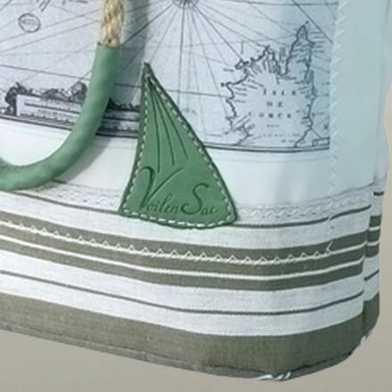 Sac à main en voile recyclée imprimée carte ancienne