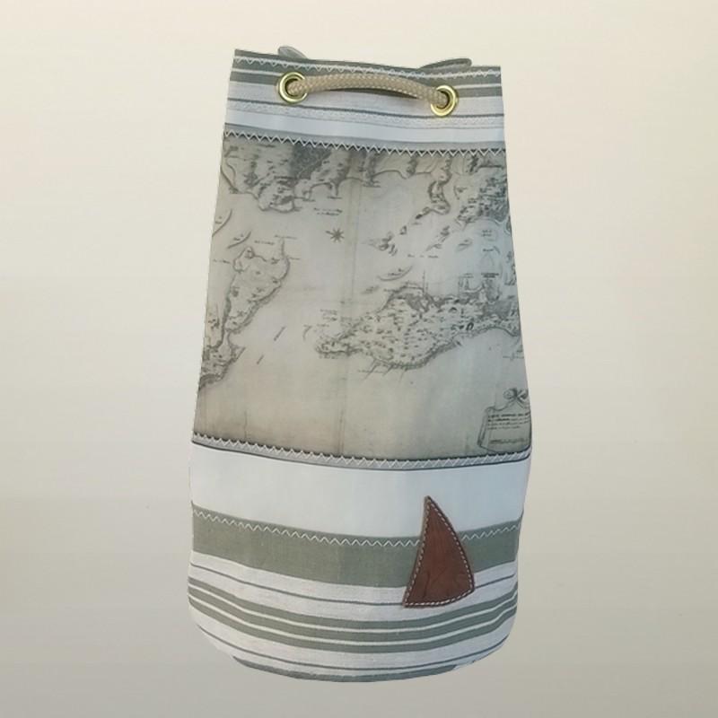 sac marin en voile de bateau imprim carte ancienne de la rochelle. Black Bedroom Furniture Sets. Home Design Ideas