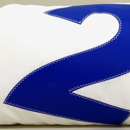 Coussin en voile de bateau 45 cm X 90 cm N° 2 bleu