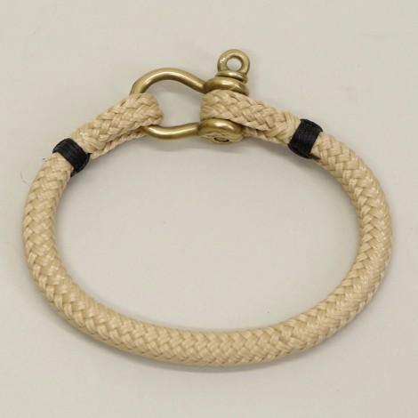 Bracelet en cordage marin Hoël Sable manille Laiton surliure noire