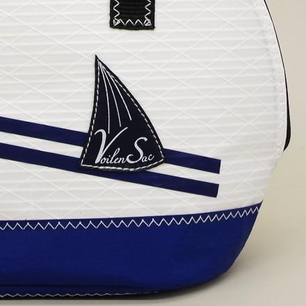 Sac a Main Coquille Blanc/bleu marine en voile de bateau