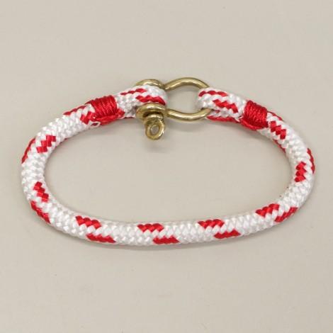 Bracelet Hoël en cordage marin blanc code rouge manille laiton