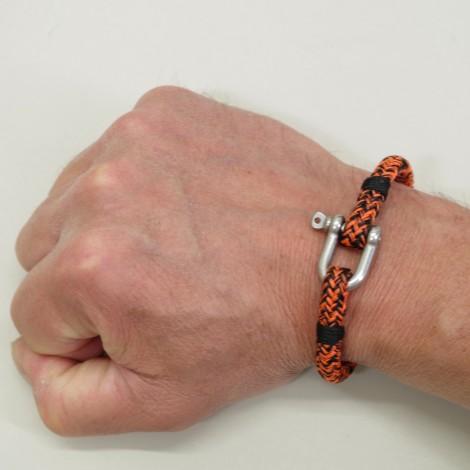 Bracelet Hoël en cordage marin orange noir manille inox