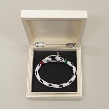 Bracelet Hoël en cordage marin blanc code marine surliures rouge verte manille inox boite