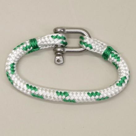 Bracelet Hoël en cordage marin blanc code vert manille Inox