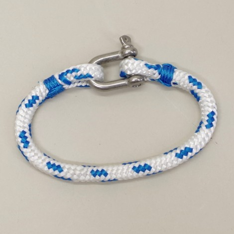 Bracelet en cordage Hoël blanc code bleu manille Inox