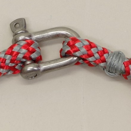 Bracelet en cordage marin gris rouge manille Inox