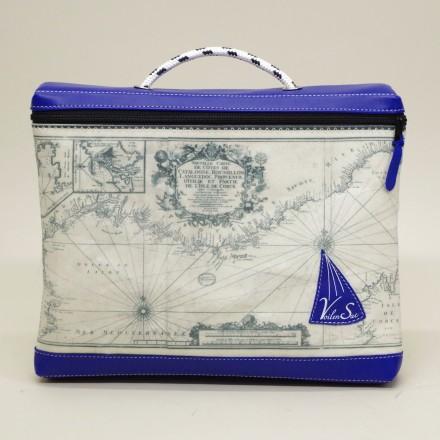 Porte document en voile de bateau carte méditerranée et cuir