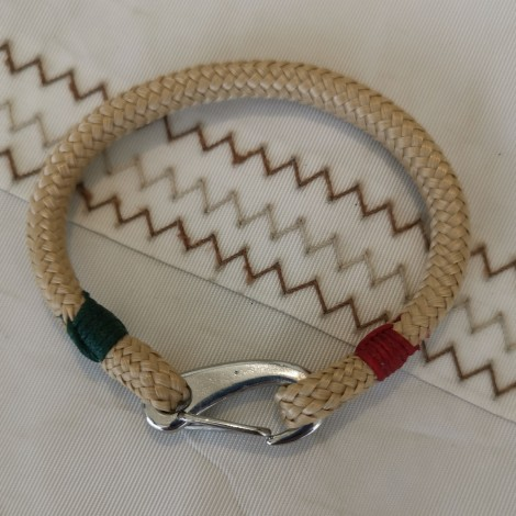 Bracelet Tribord Amure Beige vert rouge mousqueton inox