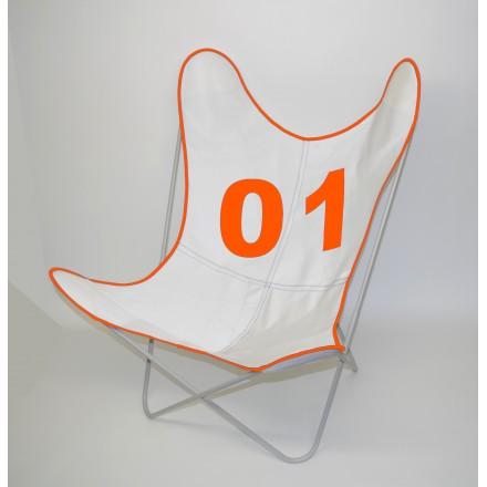 Fauteuil AA assise Voile de bateau 01 Orange