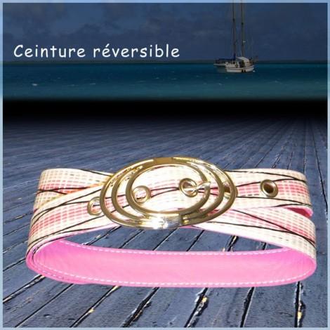 CEINTURE CUIR ROSE VOILE DIAX BOUCLE 3 FILS